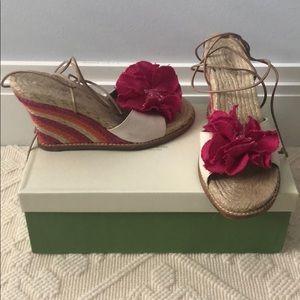 Kate Spade Pink + Orange floral tie up wedges 8